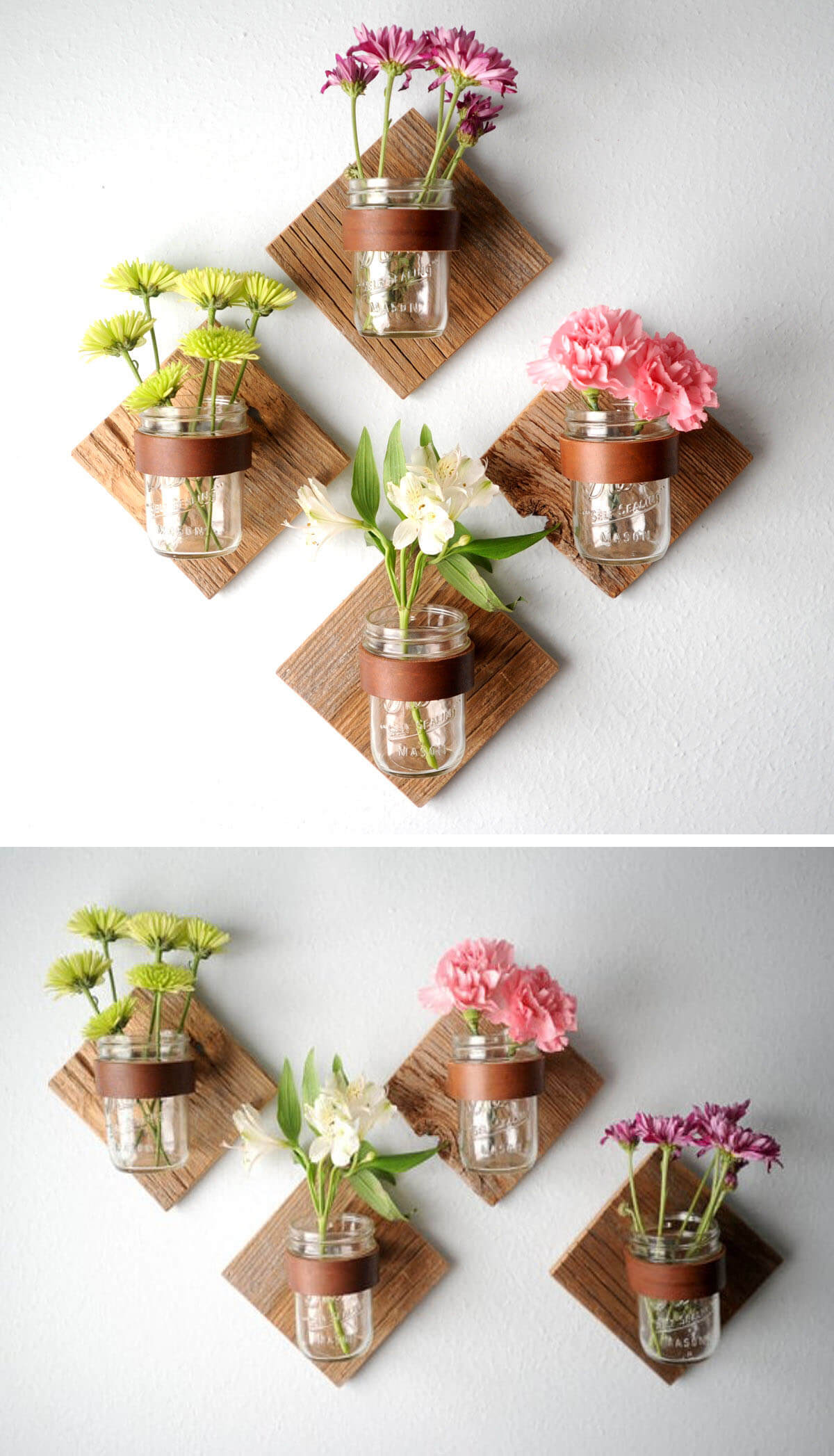Rustic Flower Vase Mason Jar Wall Decor