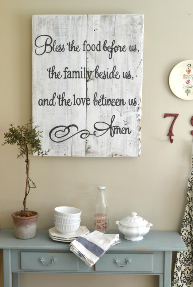 Food Family Love Prayer Sign