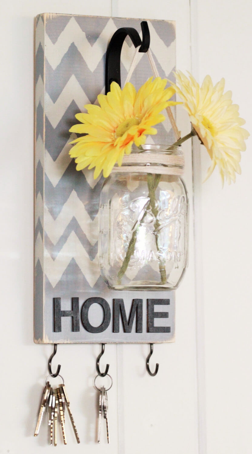 Mason Jar Flower Vase and Key Hook