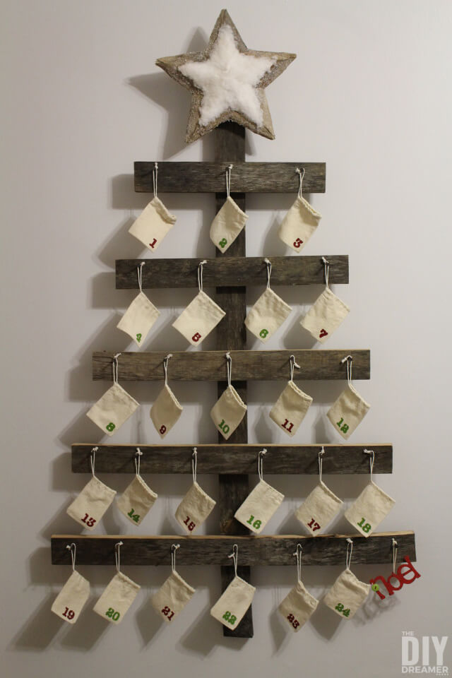 Wood Christmas Tree Advent Calendar