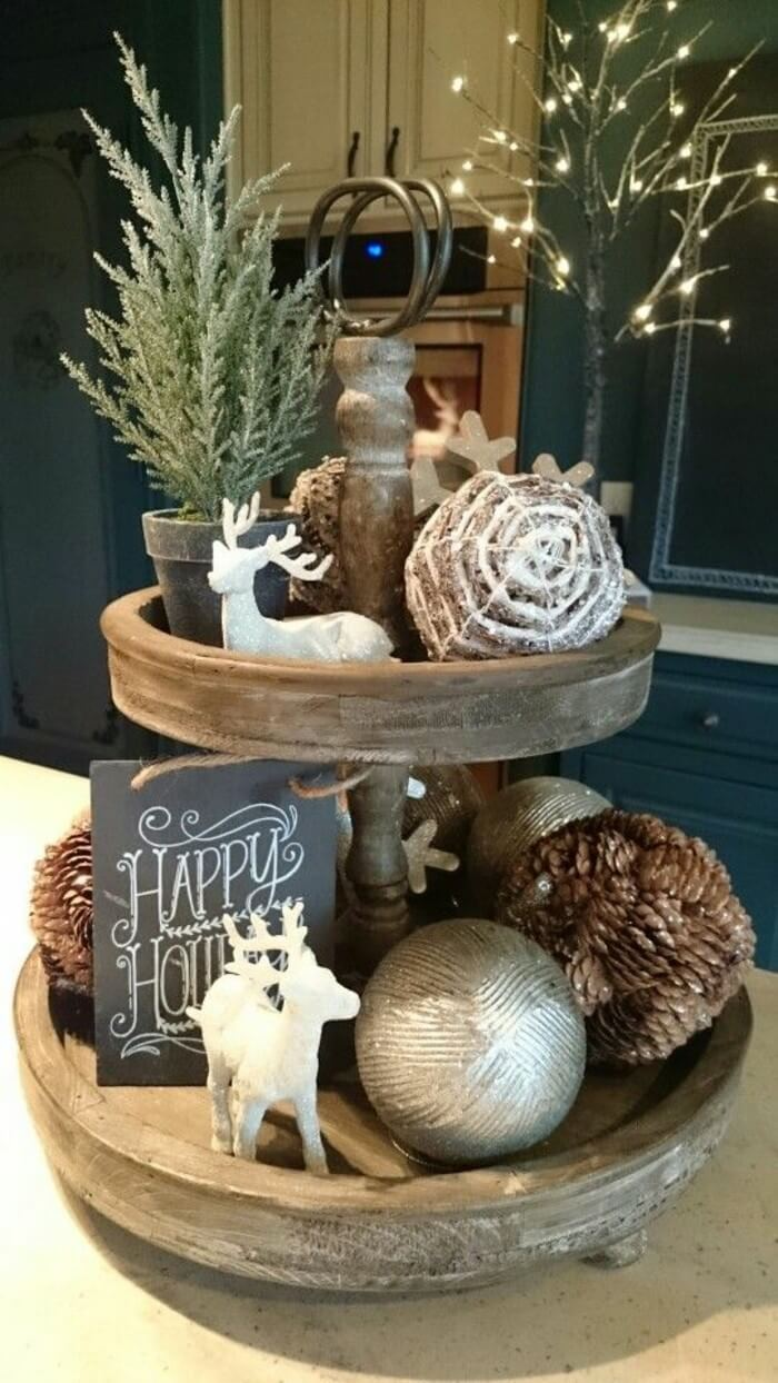 2 rustic winter lazy susan centerpiece - Farmhouse Christmas Decorating Ideas