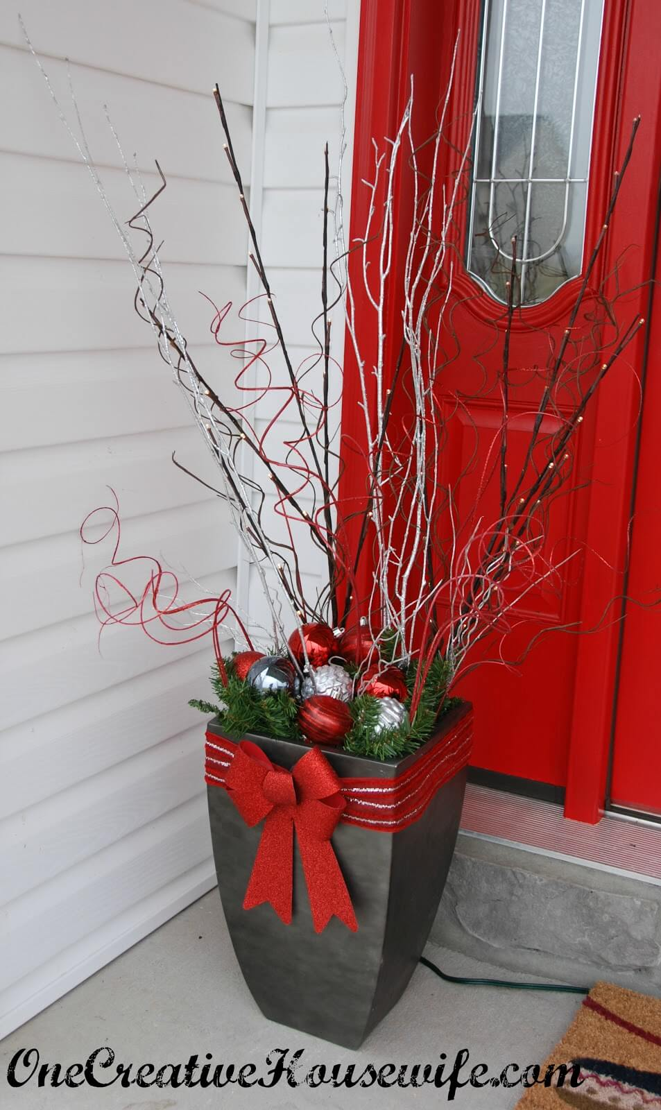 Glittery Branch, Ornament, and Bow Planter