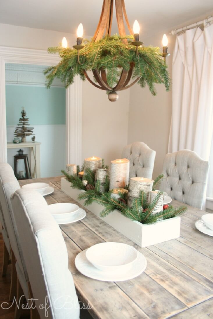 Birch Log and Pine Branch Centerpiece