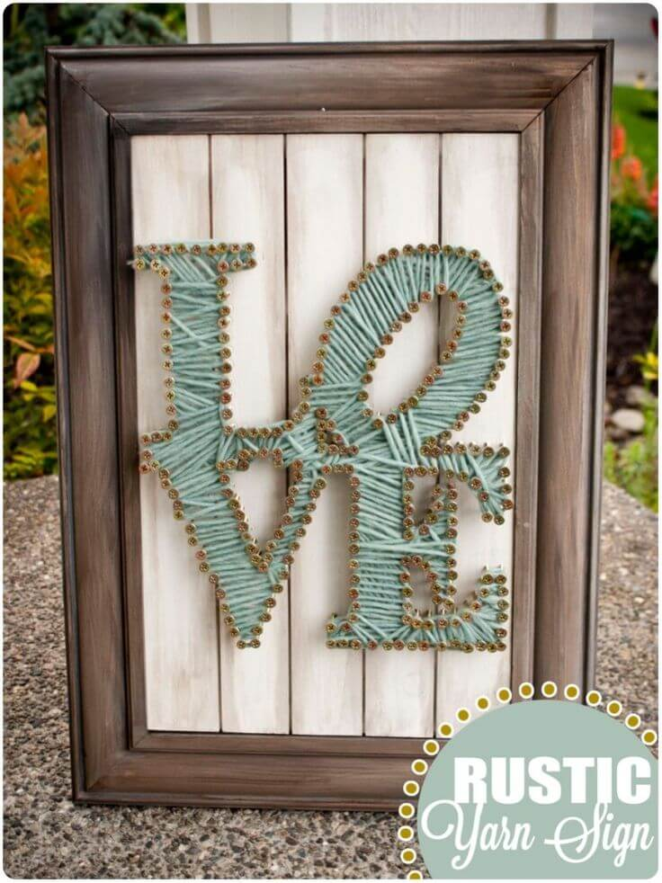 Love Rustic Yard Sign DIY String Art