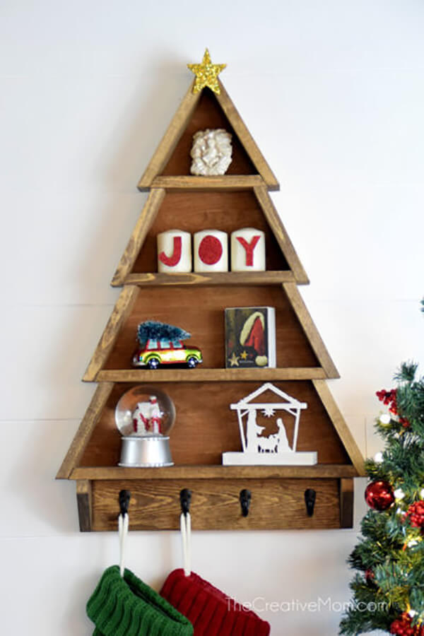 Warm Winter Wooden Christmas Tree Tiered Shelf