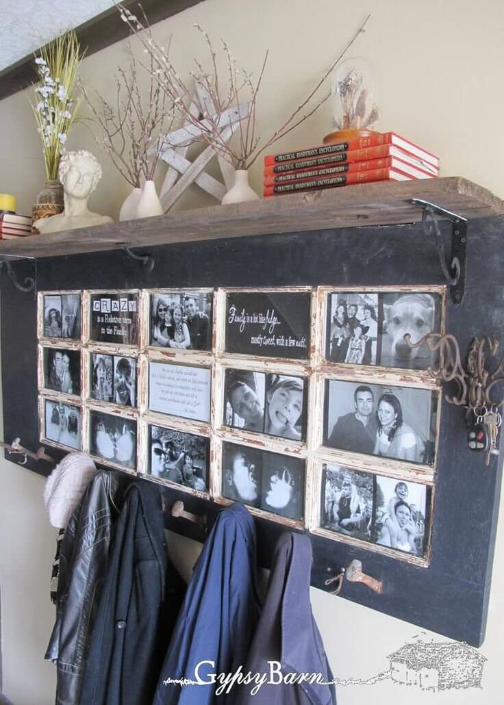 Multi-Purpose Entryway Chalkboard and Photo Collage
