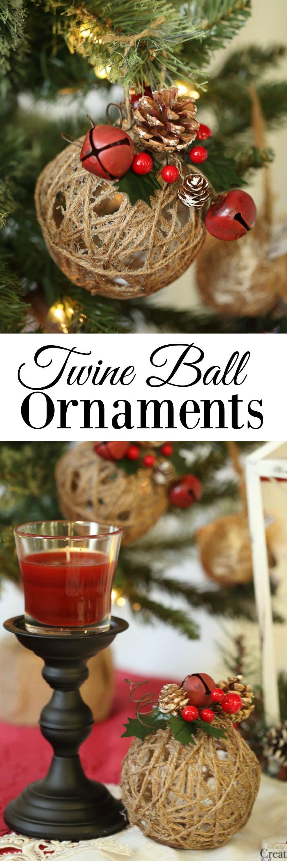 DIY Twine Ball Christmas Ornaments