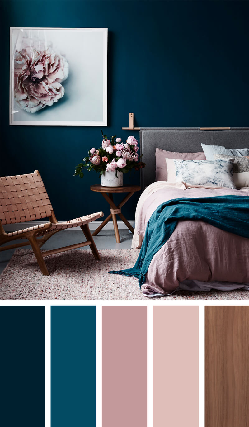 bedroom teal walls
