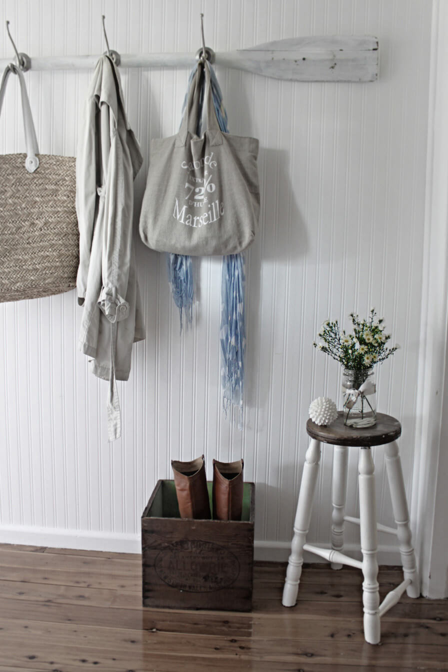 Rustic Nautical Whitewashed Oar Coat Rack