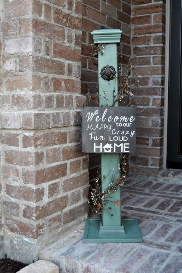 Rustic Post and Hand-Painted Welcome Sign