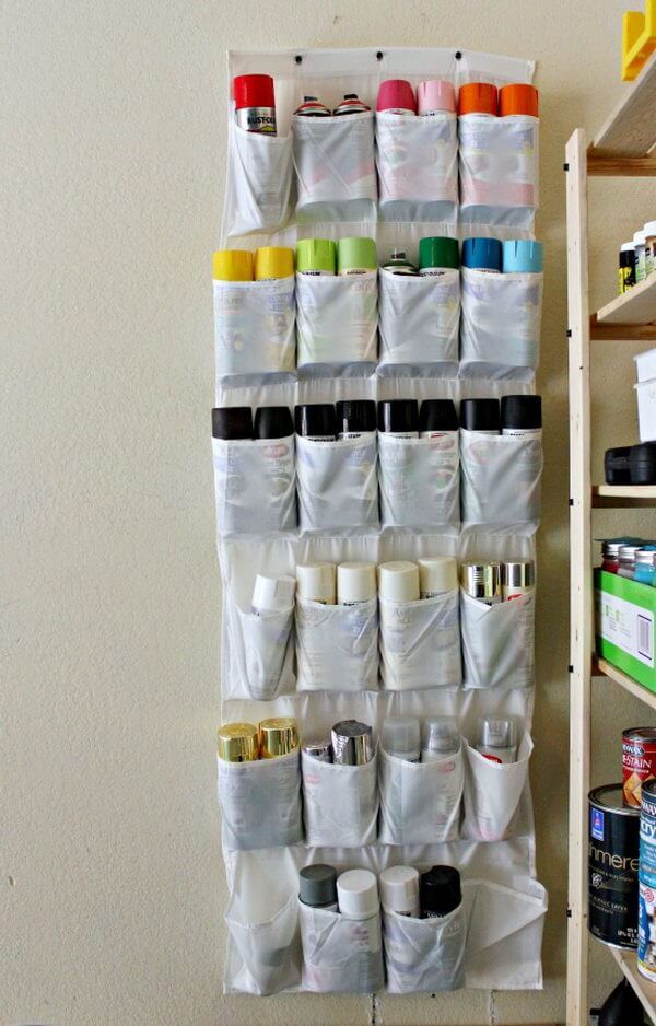 Wall-Hanging Paint Can Pocket Display