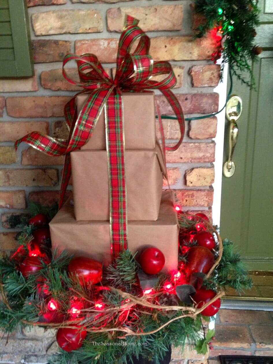 Pretty Present Stack Porch Display