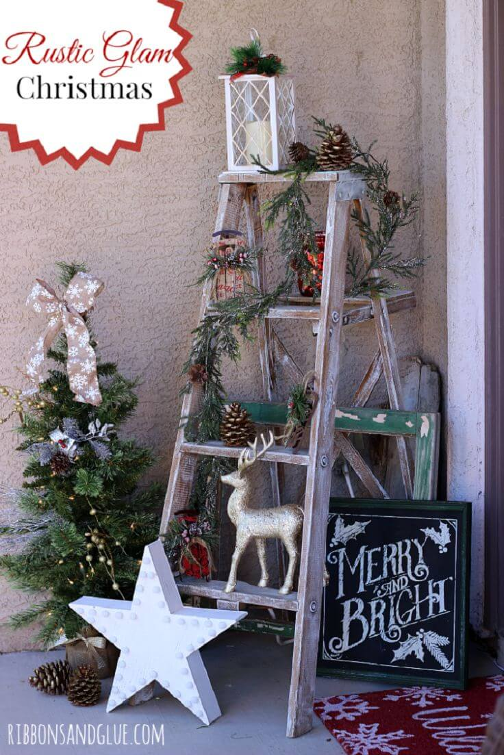 festive holiday ladder porch display - Farmhouse Christmas Decorating Ideas