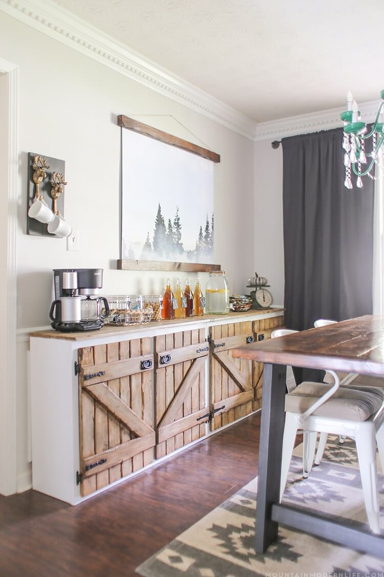 7 barn door sideboard for continental breakfasts