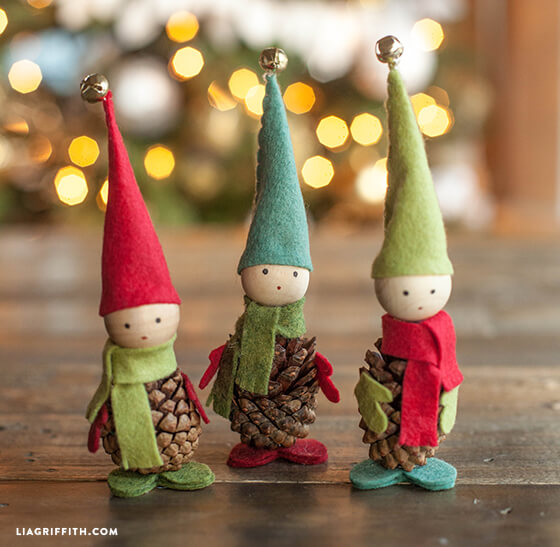 Santa's Whimsical Pinecone Wood Elves
