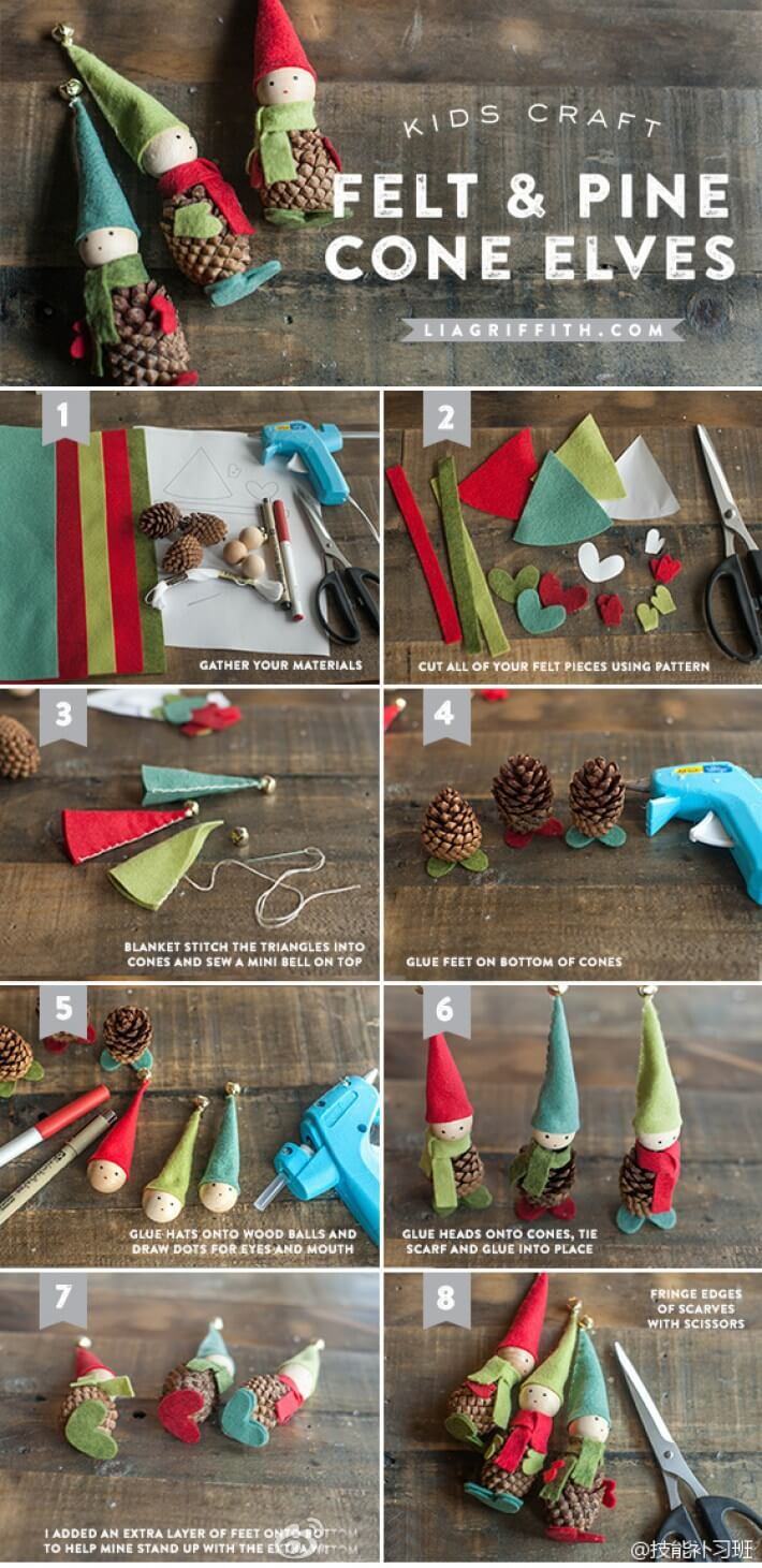 Pine Cone Craft Ideas For Christmas Part - 49: Santau0027s Whimsical Pinecone Wood Elves