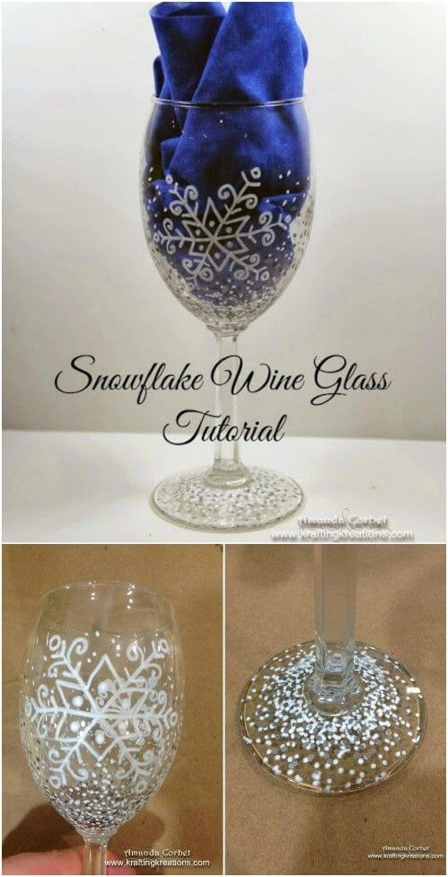 Snowflake Wine Glass Project Idea