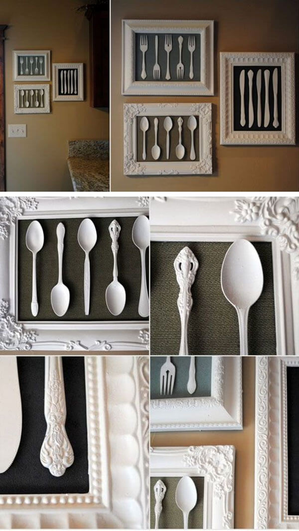framed vintage silverware art project - Kitchen Wall Art