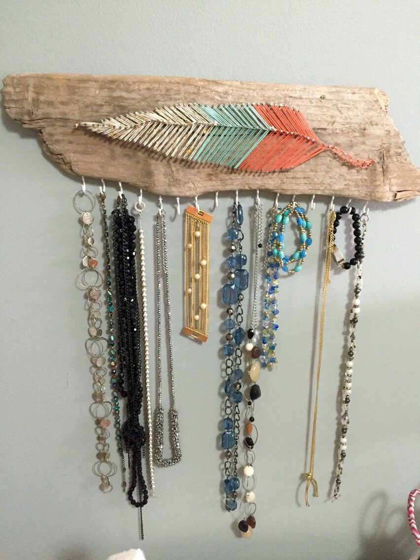Feather String Art Jewelry Holder