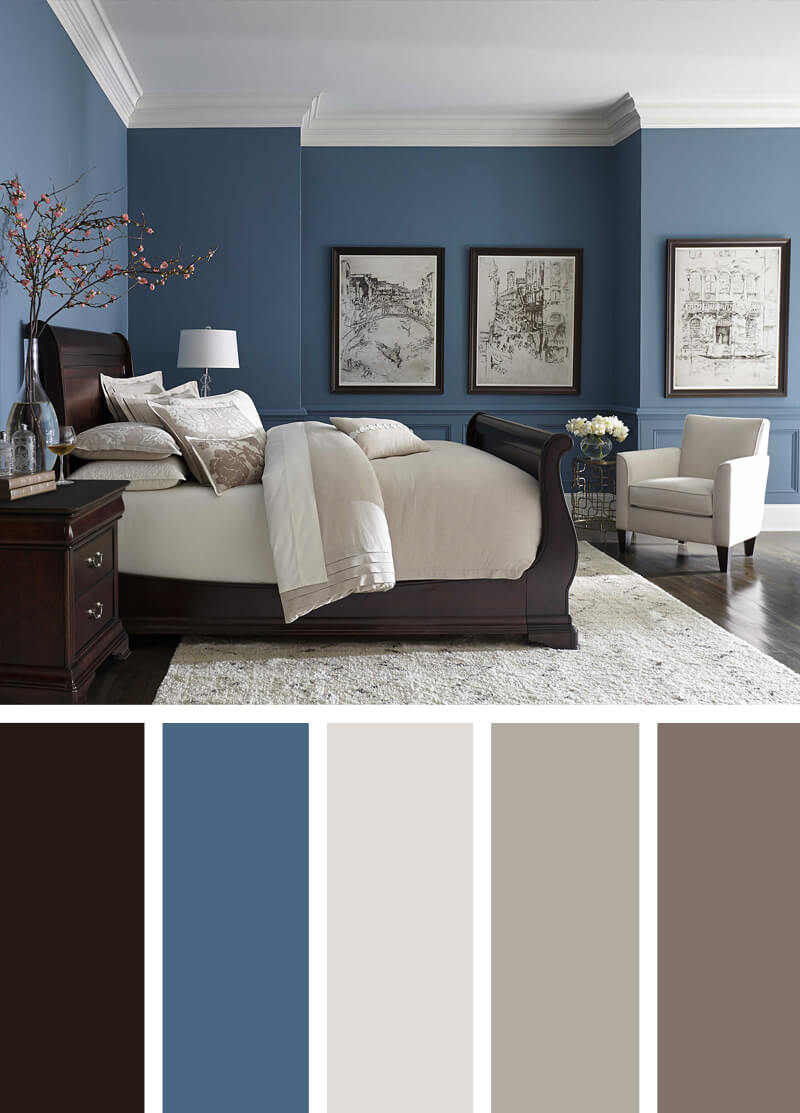 9. Blue Walls Dark Floors Bright Neutrals