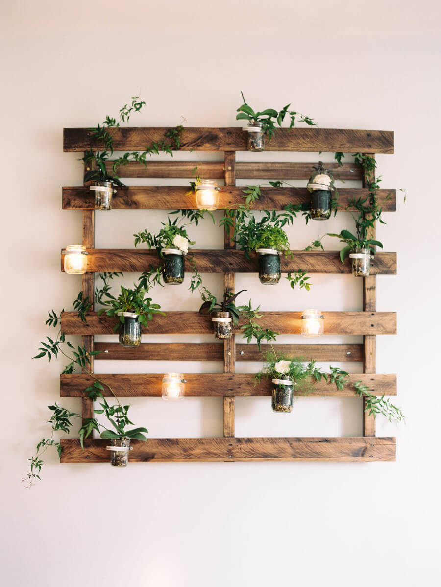 Pallet Planter Earthy Mason Jar Wall Art