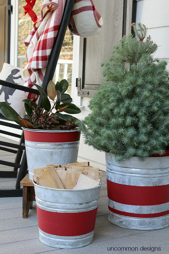 Galvanized Bucket Trio Christmas Display