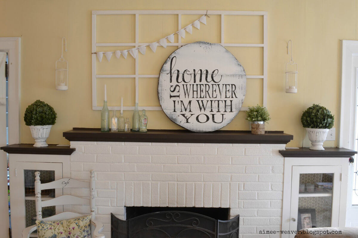 Shabby Chic Round Mantel Sign