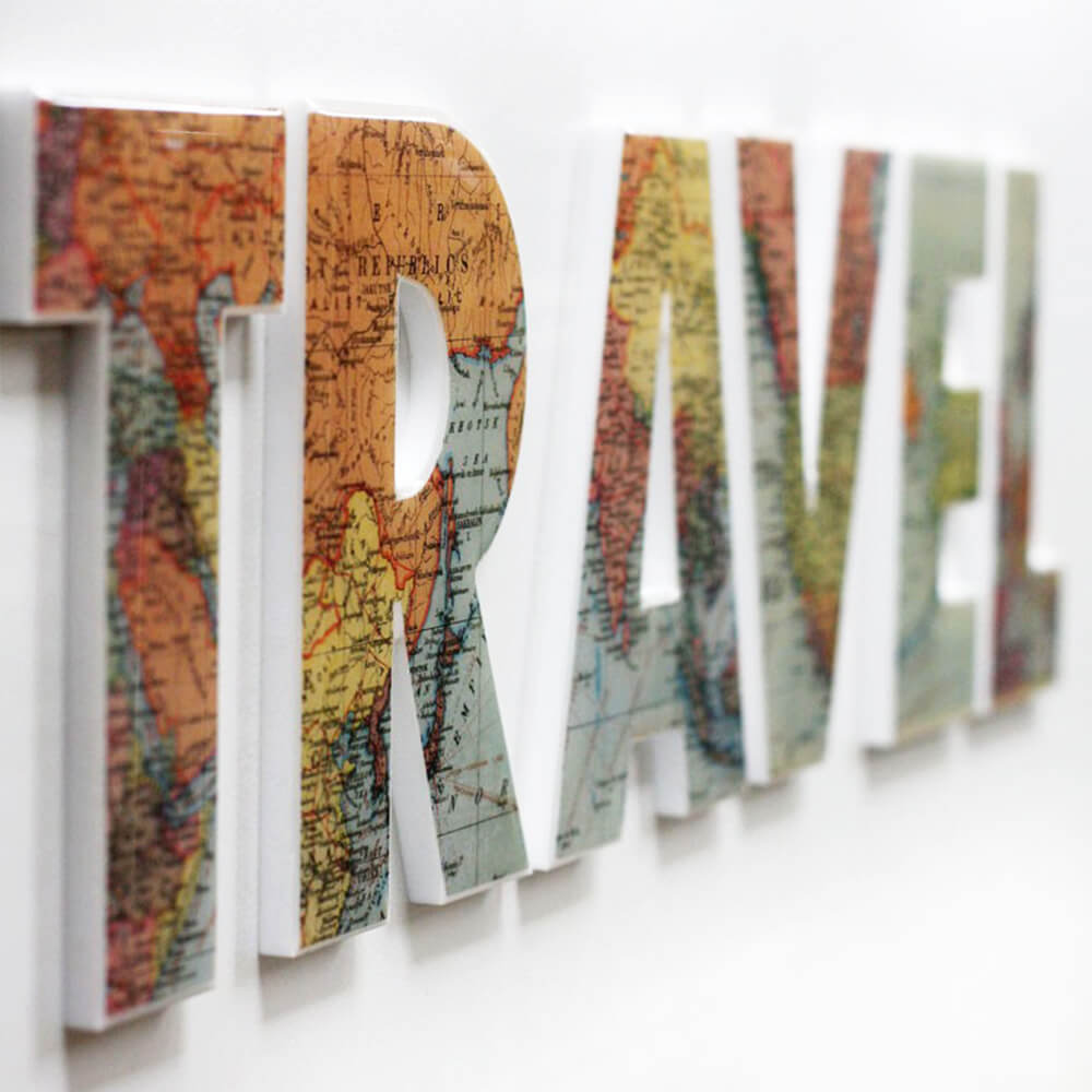 "Decoupage Map ""Travel"" Wall Sign"