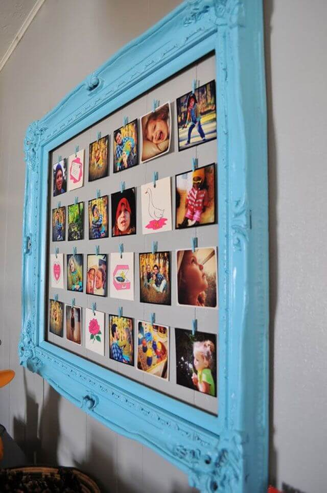Pictures Lined up in a Pretty Blue Frame