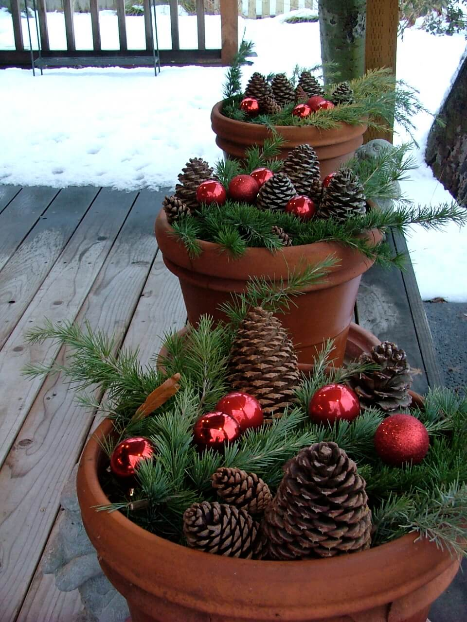 Pinecones, Evergreens, and Ornaments Planters