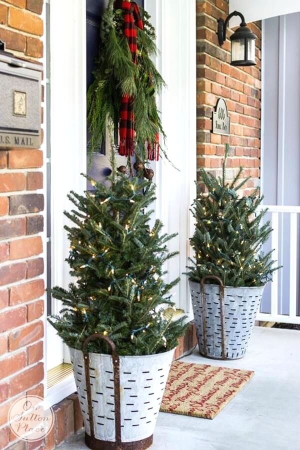 festive pine tree porch planters - Outdoor Christmas Planter Decorating Ideas