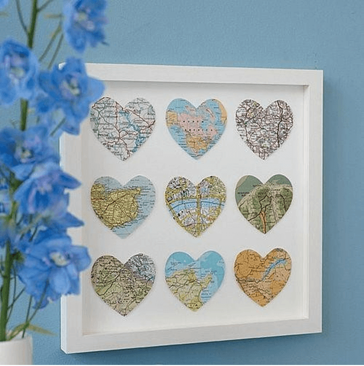 Framed Heart Map Cut-Outs Idea