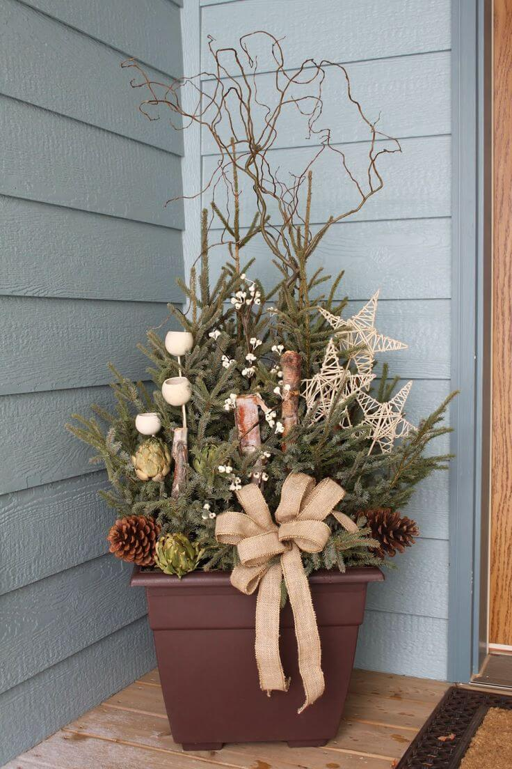 Rustic Christmas Pine Planter Display