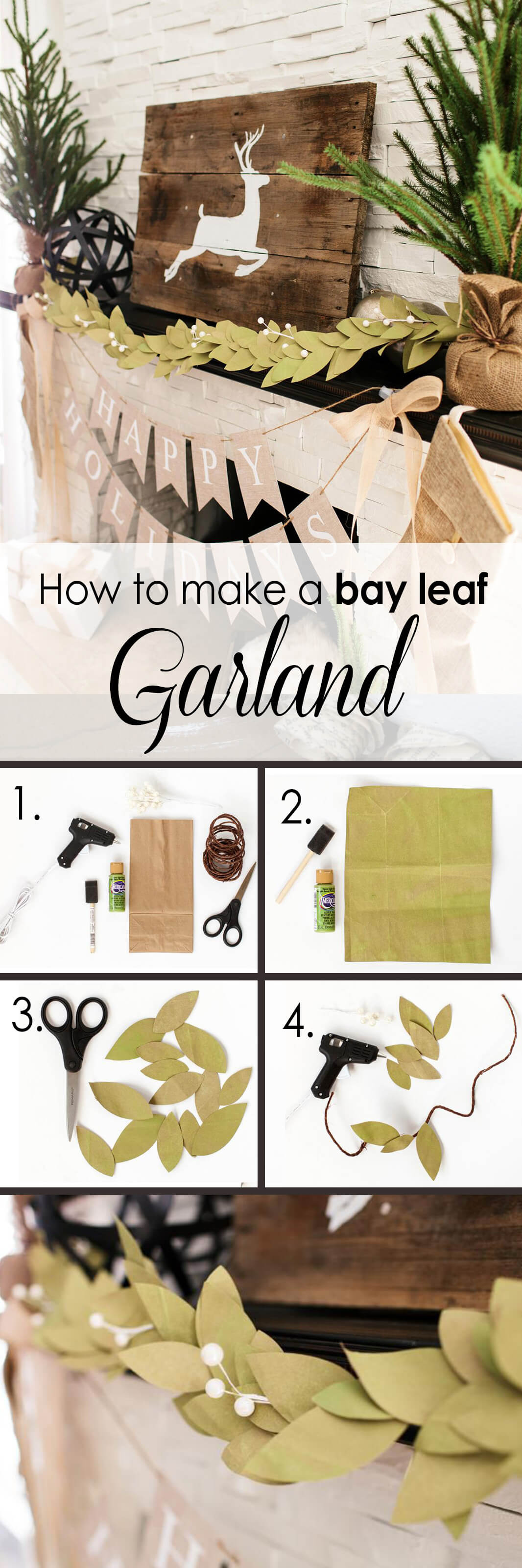 DIY Faux Bay Leaf Garland