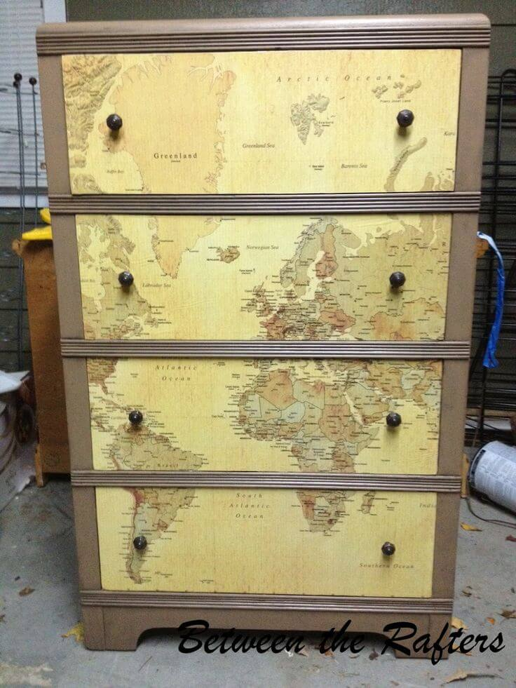 Easy Upcycled World Map Dresser