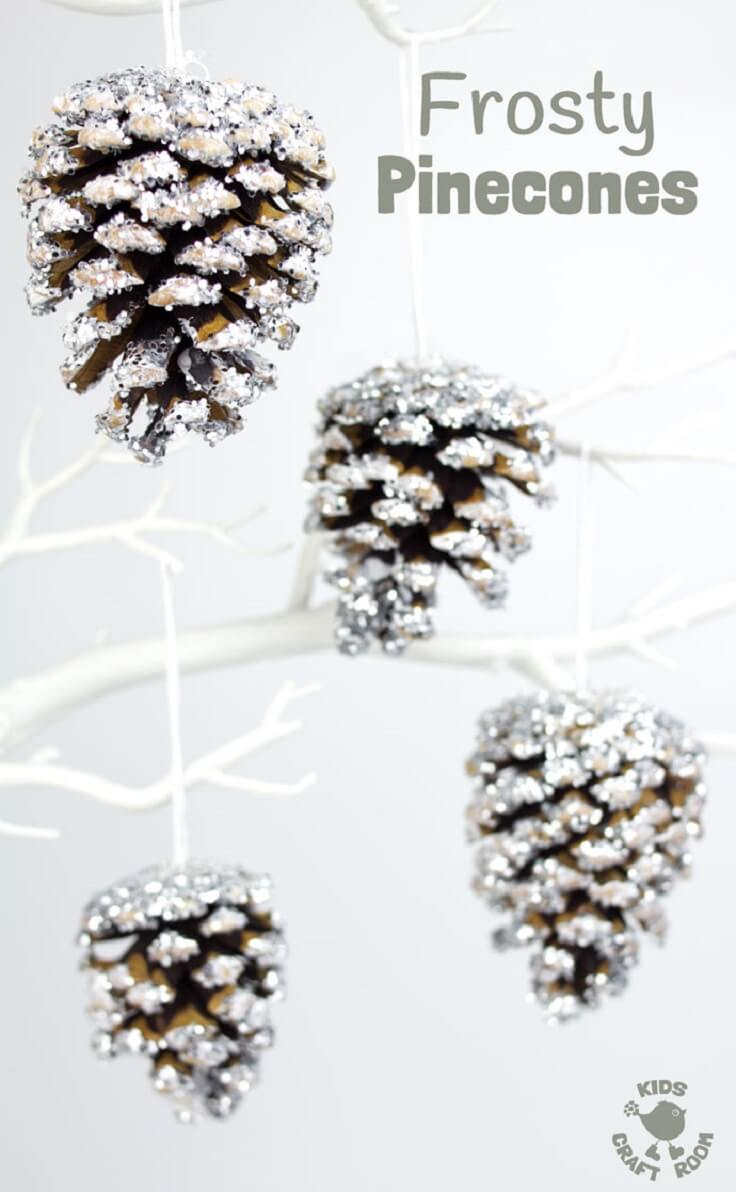 Dangling Sparkly Snow Pinecones