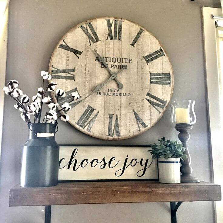 Lovely 13. Rustic Clock And Plant Display
