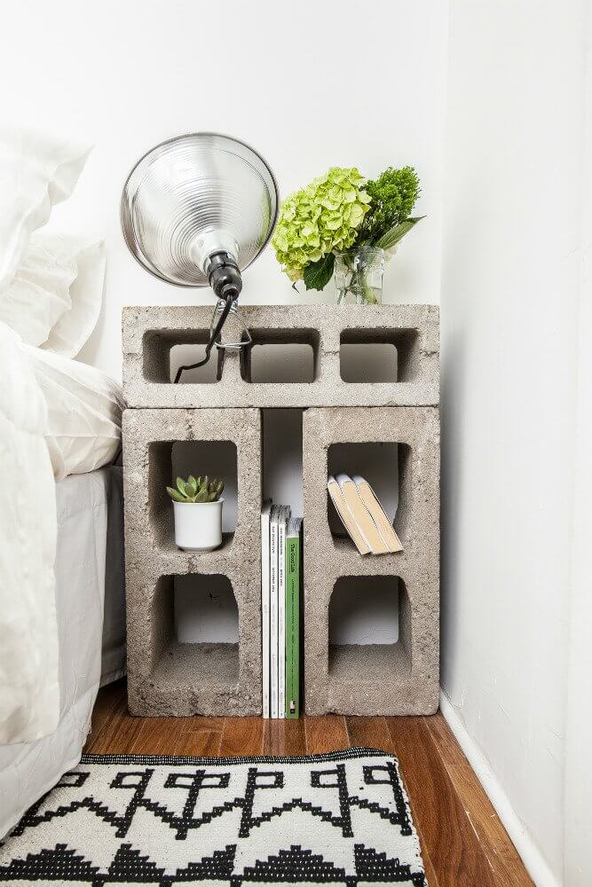 Cinder Block Nightstand for the Man Cave
