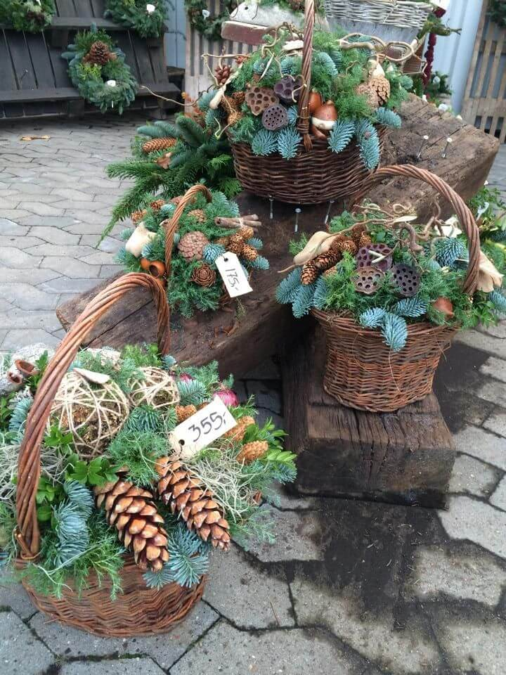 Pinecone and Evergreens Porch Baskets