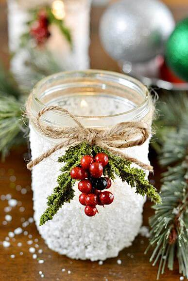 Easy Snowy Mason Jar Idea