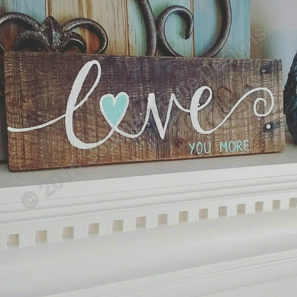 Pretty Stenciled Script Plank Art