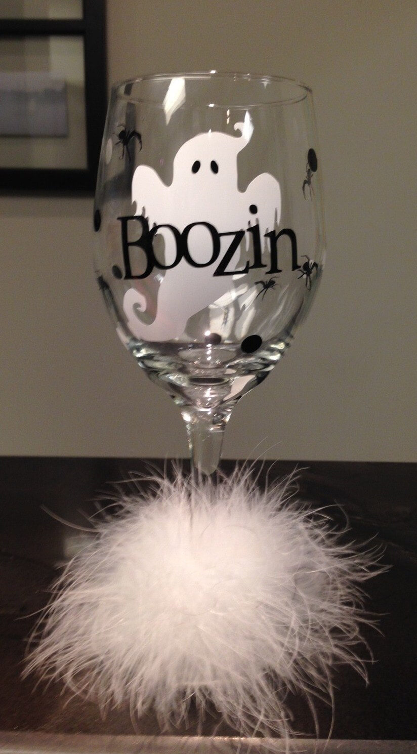 """Boozin"" Halloween Wine Glass Tutorial"