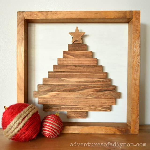 Wood Slat Decorative Christmas Tree Wall Art