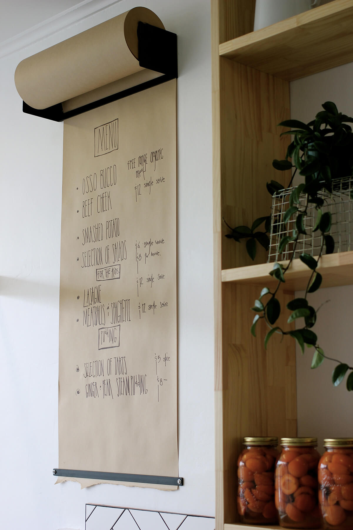 Kitchen Wall Butcher Paper Dinner Menu