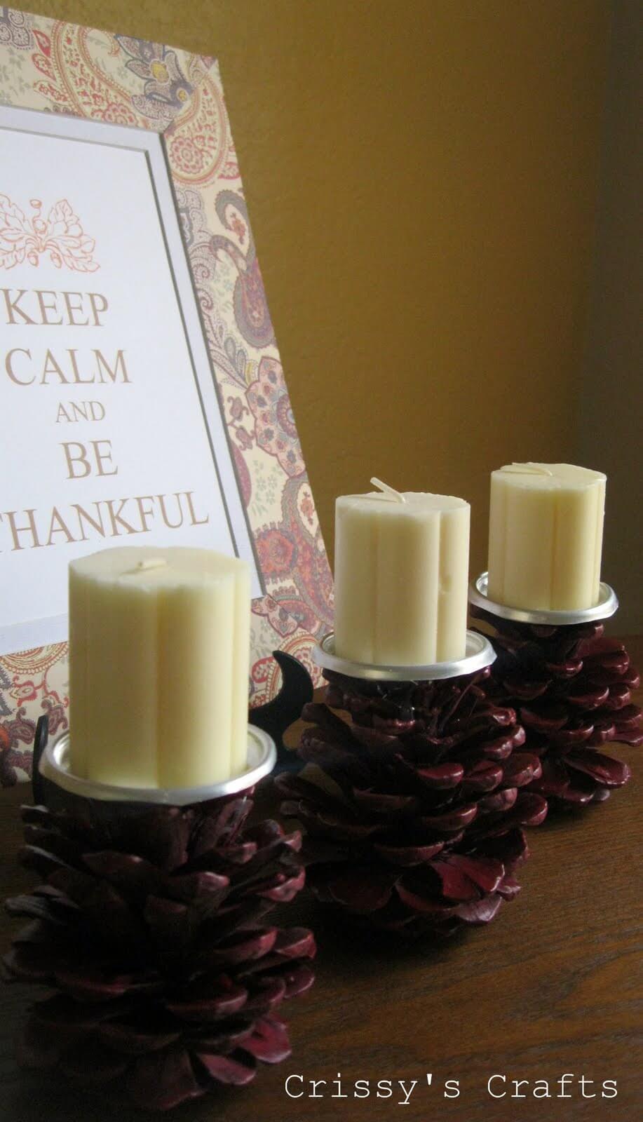 Elegant Pinecone Candleholders Cast A Warm Glow