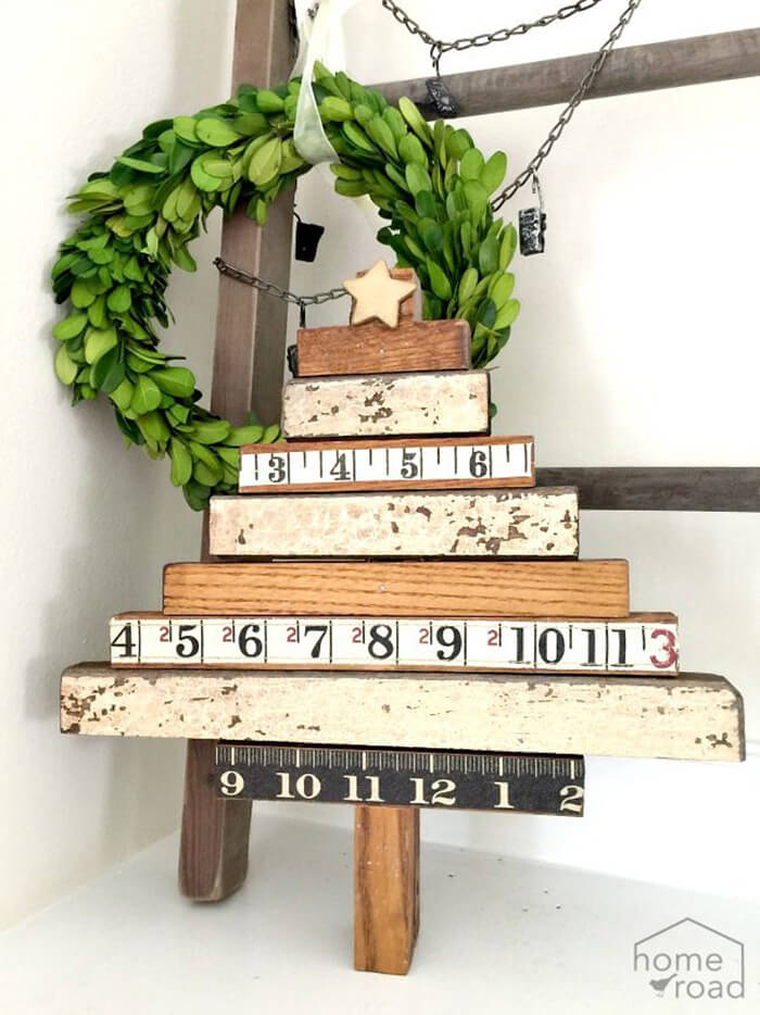 Upcycled Vintage Ruler Christmas Tree