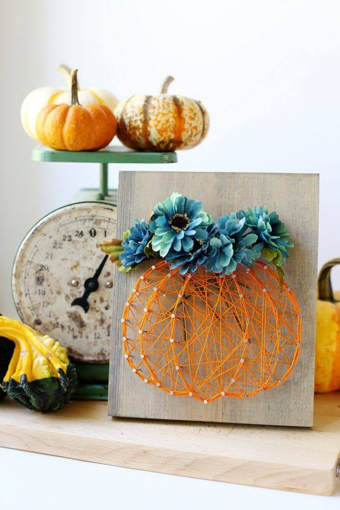 Pumpkin and Flowers String Art