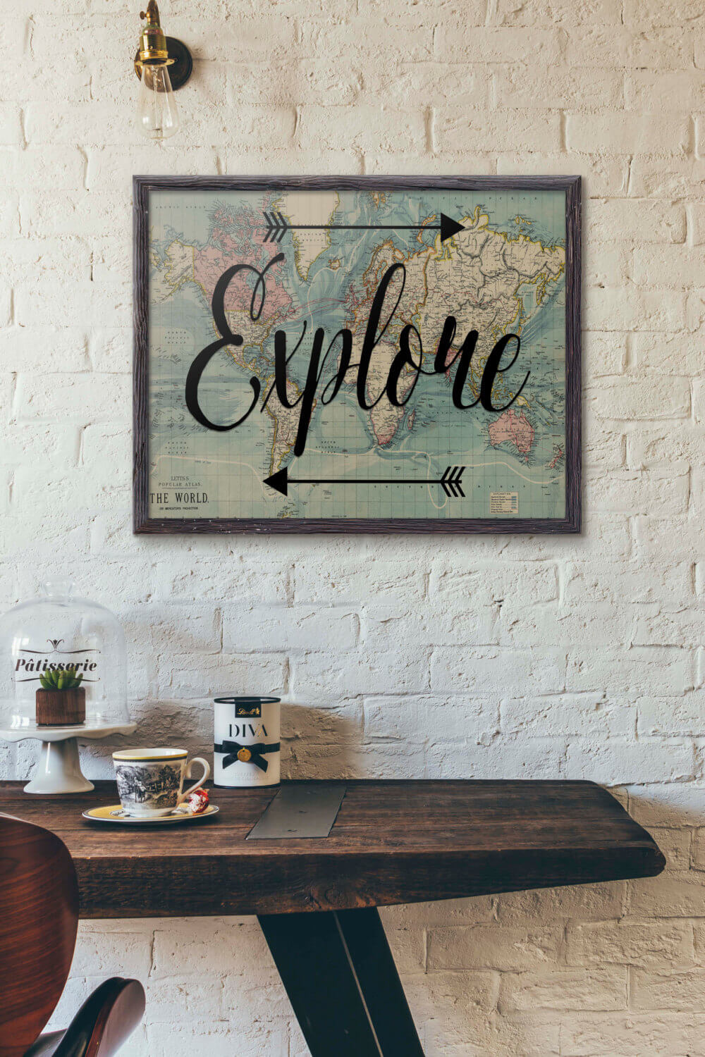 """Explore"" World Map Wall Art"