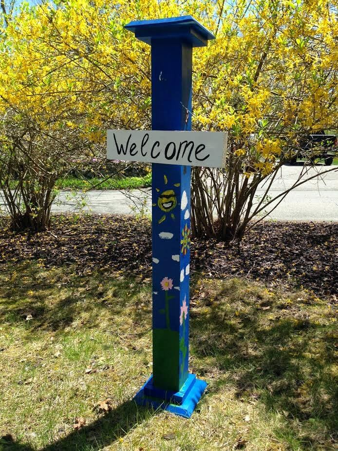 Whimsical Painted Garden-Themed Post and Simple Sign