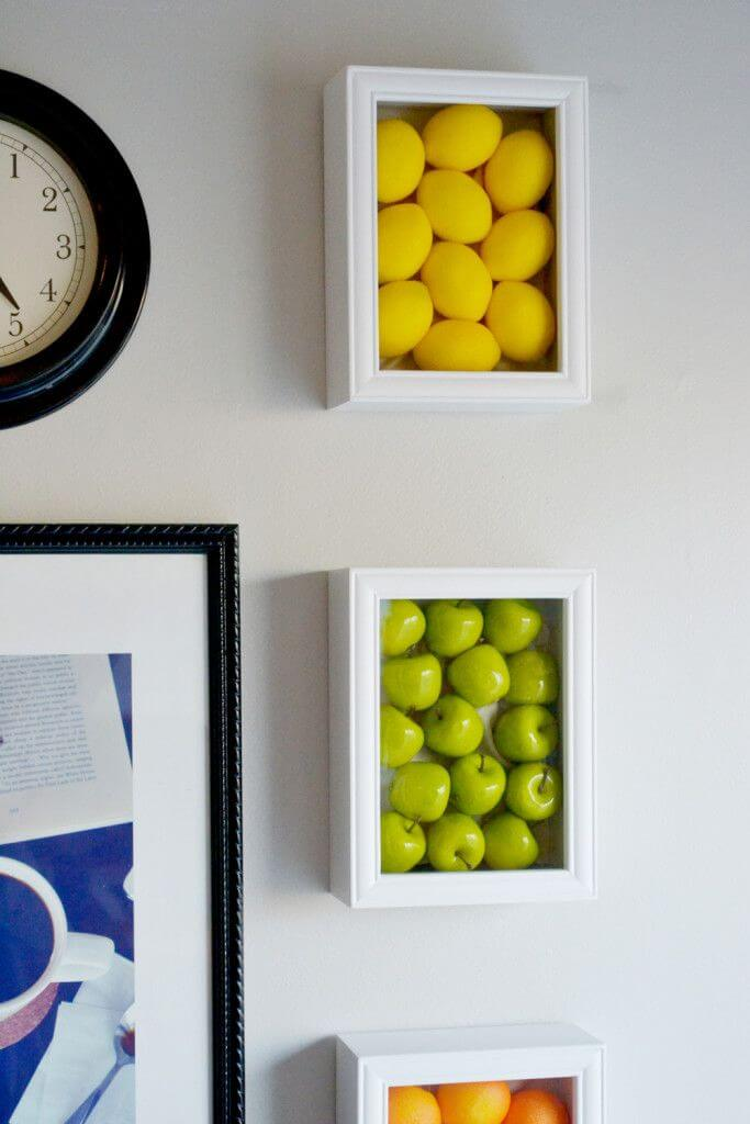 17. DIY Faux Produce Shadow Boxes